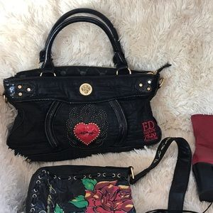 Ed Hardy black black bag. Used, in good condition.